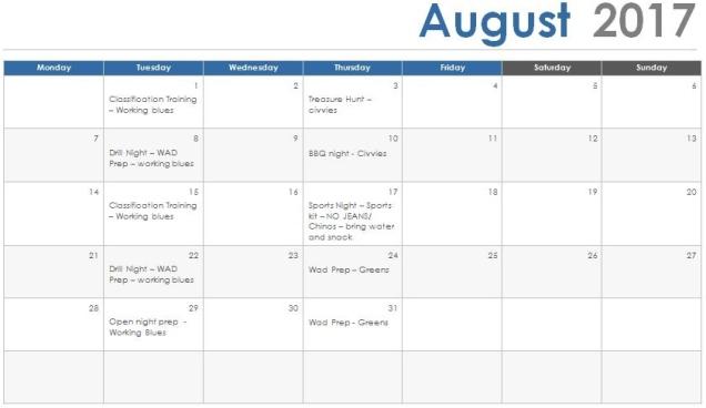 Aug 17 Programme