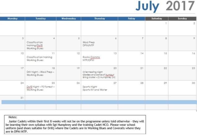 July 17 Programme