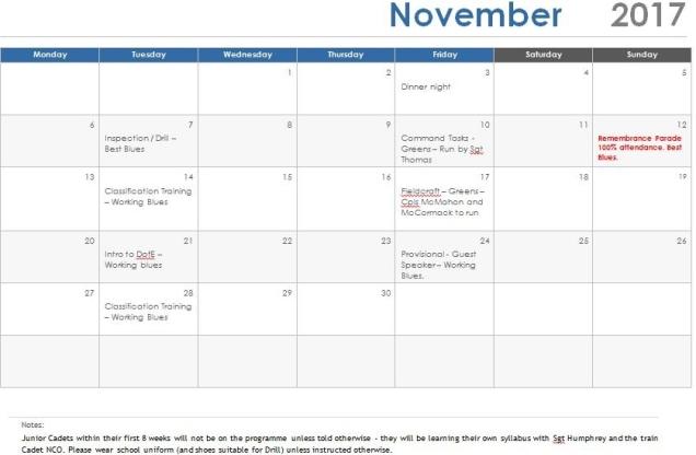 Nov 17 Programme